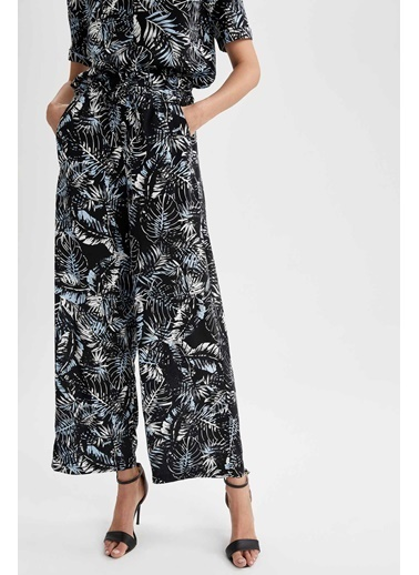 DeFacto Geniş Paça Yüksek Bel Desenli Pantolon Siyah